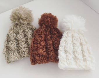 Newborn size knit cable stitch pompom beanie hat,photo prop,coming home,ready to ship