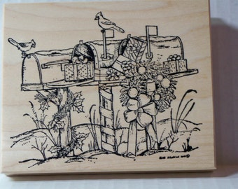 CHRISTMAS MAILBOXES W/BIRDS wood mounted rubber stamp made by Northwoods