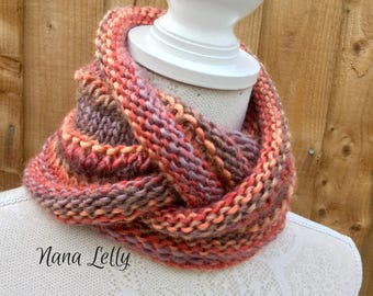 Stylish Chunky Knit Cowl. Circular Scarf, Rustic Infinity Scarf, Neckwarmer. (brown gold orange mix) Luxurious Winter accessory. Mothers Day