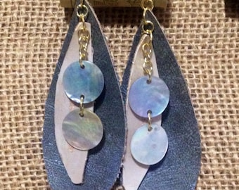 Leather Inspired Teardrop Grey with Pearl Accent Earrings