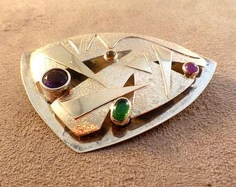 Beautiful Janet Sherman Gallery Artist 14K Gold Sterling Gemstone Geometric Pin