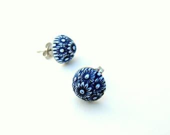 Navy Blue Stud Earrings, Gift for Her Jewelry, Flower Post Earrings, Flower Stud Earrings, Petite Stud Earrings
