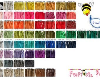 7 Inch YKK Zippers - Set of 48 pcs - Choose your own color combination