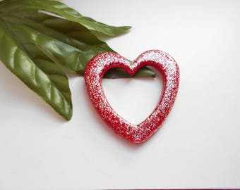 red acrylic heart with glitter 49 mm
