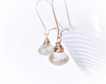 GOLDEN Rutilated Quartz & Gold Filled Wire Wrapped Earrings, natural gemstone jewelry, gifts for her