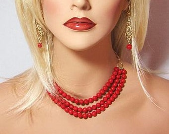 Red Riverstone Multi Strand Cluster Statement Necklace