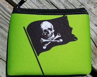 Pirate Flag Lime green Coin Purse zippered pouch neoprene skull crossbones