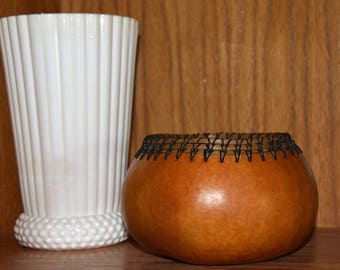 Natural gourd bowl with pine needle trim
