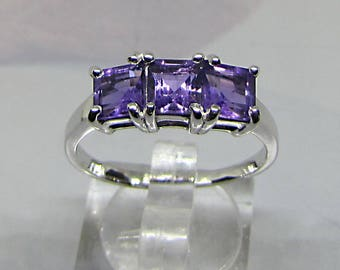 Silver ring with Amethyst faceted size 52