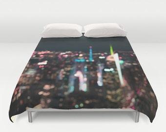 Duvet Cover Made to Order, New York, Manhattan Time Square, Decorative bedding, unique design, modern, bedroom, blanket, city, bokeh, dorm