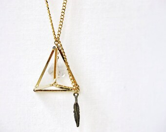 Gold Geometric Necklace Abstract Prism Triangle Prism Bar Pendant Feather Rough Glass Charm Long Gold Chain Handmade Canada
