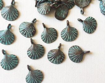 15mm Verdigris Copper Seashell Charms Set of 6