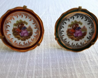 "Pair of Vintage Miniature Limoges ""Amphora"" Porcelain Display Plates Fragonard Courting Couple Stamped Superb Condition"