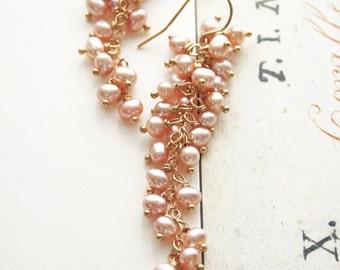 Pink Pearl Earrings,  Pink Earrings, Bridal Earrings, Pearl Earrings