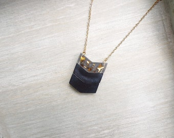 Long necklace, Chevron necklace, black and gold, Geometric necklace, Ombre black necklace