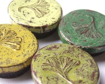 Green Ginkgo Leaf Magnet Set - Shades of Green