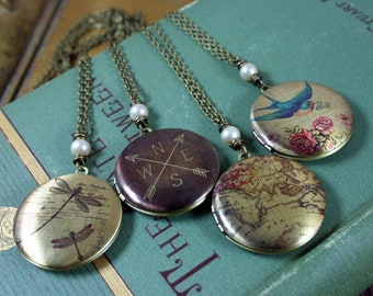 Locket Necklace Hand Wrapped Pearl Accent 4 Designs Available