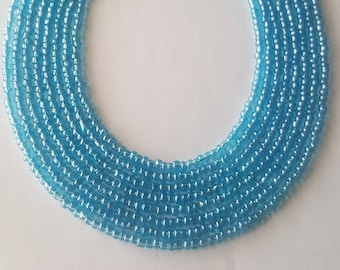 Blue lustre seed bead necklace - sea blue seed bead necklace - blue seed bead necklace - seed bead necklace - baby blue necklace