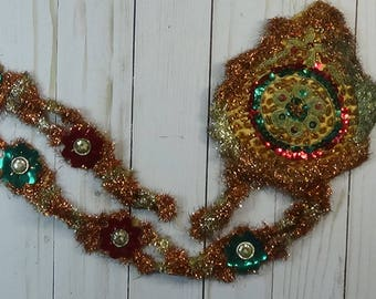 Victorian Christmas Decoration: Metallic Tinsel, Stitched Gilt Threads, Sequins, etc..
