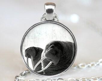 Walrus Pendant, Walrus Art Necklace, Walrus Jewelry, Walrus Art Pendant, Walrus Art, Walrus Art Portrait, Bronze, Silver, 015