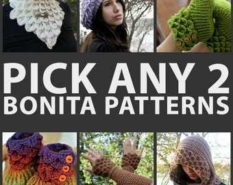 CROCHET PATTERN: Any Combination of 2 Bonita Patterns (Bundle) - Permission to Sell Finished Product