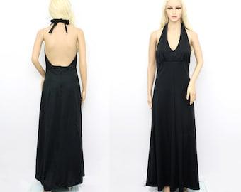 Vintage 1970s Halter Dress - Black Halter Dress - Black Halter Maxi Dress - Black Maxi Dress - Black Disco Dress - 70s Disco Dress Medium
