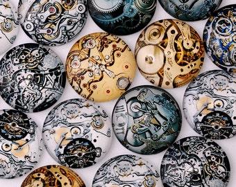 20 Vintage Mechanical Gear Steampunk Art Photo Glass Cabochon 25mm 10070449