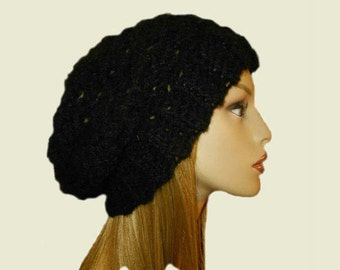 BLACK SLOUCHY Beanie Hat Slouch Knit Slouchie Beany Teen Crochet Womens Hats Classic Black Knit Hat Vegan Fall Winter Accessories