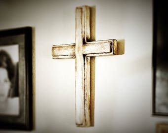 Age Distressed Wooden Wall Cross, Easter Gift Cross, Baptism Gift Cross, Christian Gift Cross