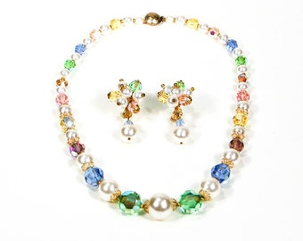 Colorful Crystal and Pearl Necklace Set, Screw Back Dangling Earrings, Rainbow Pastel Colors, Mid Century Modern, Old Hollywood Glam