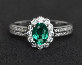 emerald ring halo ring silver engagement ring green gemstone ring oval cut May birthstone ring