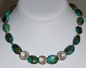 Chunky Turquoise Necklace with Hilltribe Silver by MixedMediaDesigns1