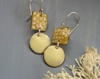 Cream and gold torch fired enamel earrings