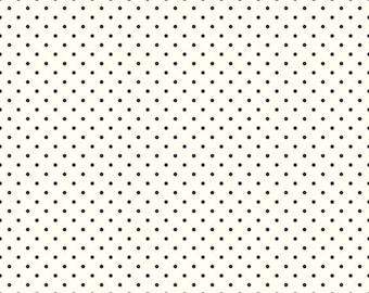 Riley Blake Designs, Swiss Dots in Cream Black  (C600 110)