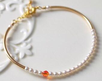 Gold Plated Bangle, Sleek Design, Ivory and Bright Orange, Swarovski Pearl Bracelet, Fire Opal Crystal Jewelry