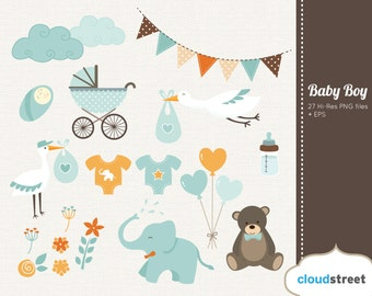 BUY 2 GET 1 FREE baby boy clipart - baby shower & birth announcement clip art - vector baby boy graphic clip art