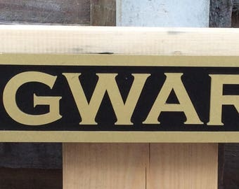 Harry Potter Hogwarts street sign - laser cut wooden plaque beautifully painted black and gold