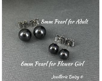 Bridesmaid Earrings Flower Girl Gift Black Pearl Earrings Stud Earrings Flower Girl Earrings Bridesmaid Gift for Her Wedding Earrings