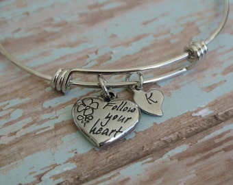 Follow Your Heart / Graduation Bracelet / 2017 Graduation Gift / Stainless Steel Charm and Bracelet