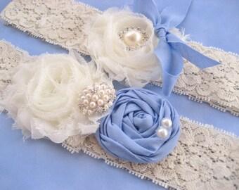 Blue Bridal Garter Set Vintage Wedding Toss Garter too Periwinkle Blue and Ivory with Rhinestones  Pearls  Custom Wedding colors