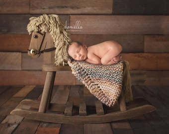 Newborn Photo Prop  Chunky Blanket in Rainbow // Pick Your Own Colours