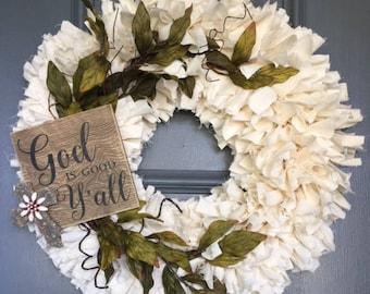 God is Good Muslin Rag Wreath - Shabby-Chic - Rustic - Home Decor