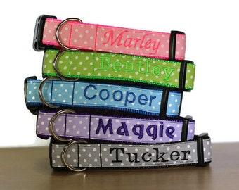 Personalized Polka Dot Dog Collar | Polka Dot Collar | Custom Dog Collar | Spring Collar for Dogs | Pastel Dog Collars | Cute Dog Collar