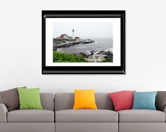 Lighthouse Photography-Portland Head Light-Coastal Decor-Maine Photography-Fine Art Print-Nautical Wall Art-Landscape Photography-Seascape