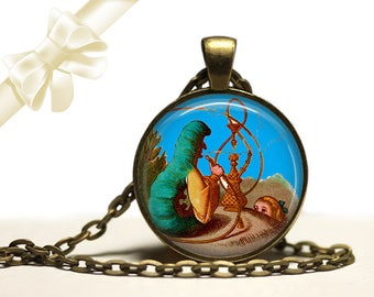 Alice in Wonderland Smoking Caterpillar brass Pendant Necklace Free Shipping Gifts for her