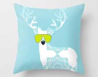 """Blue Damask Reindeer Throw Pillow 18"""" x 18""""  - deer pillows, throw pillows, decorative, novelty throw pillows"""