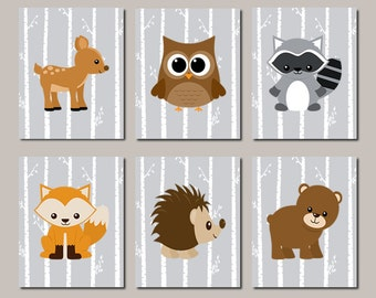 WOODLAND Nursery Art, Baby Boy Nursery, Woodland Nursery Decor, Forest Animals, Forest Friends, Pictures, WALL ART Set of 6 Prints Or Canvas