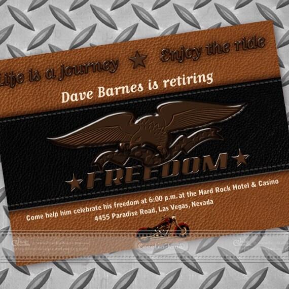 retirement party invitations, freedom motorcycle retirement invitation, Harley Davidson birthday party, military retirement party, IN118
