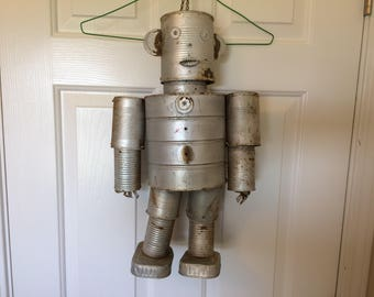 Vintage Folk Art Tin Can Man - 19 inch tall - hangs from a chain - mobile or bird feeder - rusty but intact