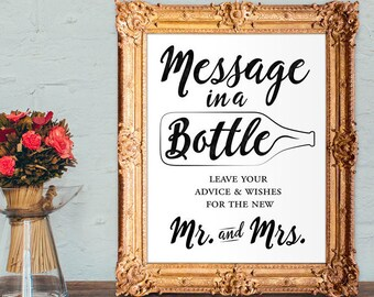 Wedding Guest Book - Message in a bottle guest book - advice and wishes for the new mr and mrs - PRINTABLE - 8x10 - 5x7